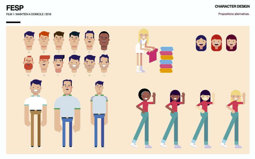 Planche de Characters Design d'un film de motion design