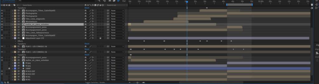 La timeline After Effects d'un film de motion design